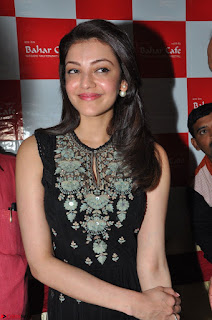 Kajal Aggarwal in lovely Black Sleeveless Anarlaki Dress in Hyderabad at Launch of Bahar Cafe at Madinaguda 023.JPG