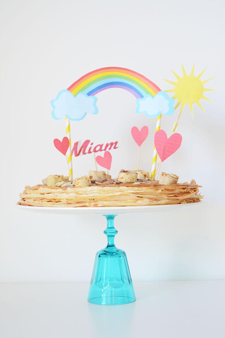 gâteau de crêpes cake topper DIY