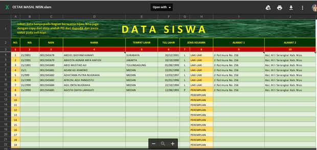 Tampilan Data Siswa Aplikasi Cetak NISN Massal Dengan Photo