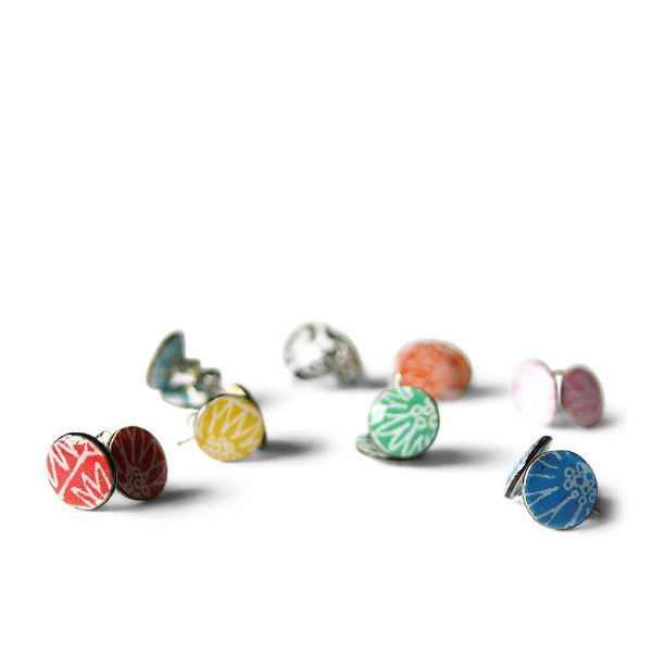 colorful patterned paper, silver, and resin stud earrings