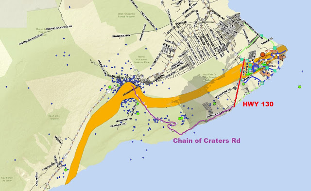 If Highway 130 gets blocked by the lava flow.  Chain of Craters Rd would be the the alternative route out of this area.