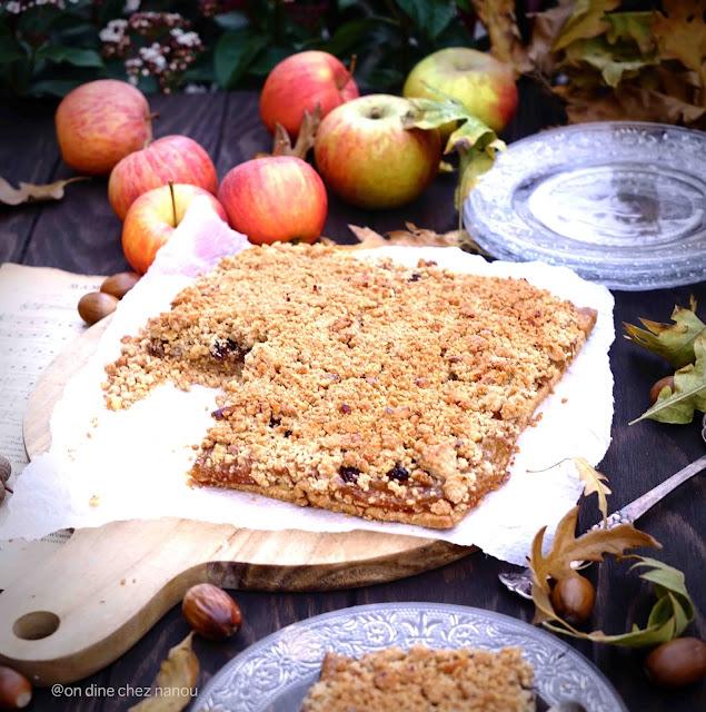 tarte crumble , pommes , dessert facile , épeautre , IG bas , healthy