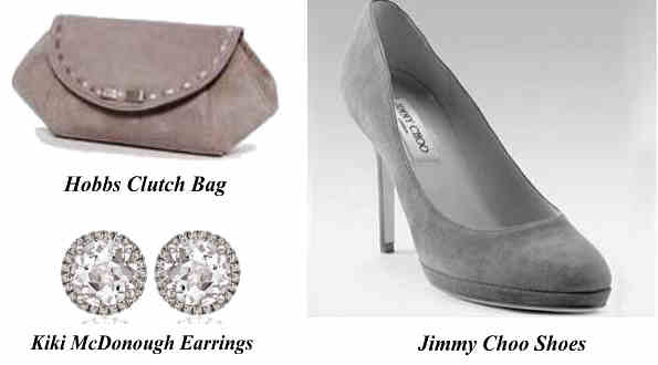Catherine, Duchess Of Cambridge's Hobbs Clutchn Bag Kiki McDonough Earrings And Jimmy Choo Shoes