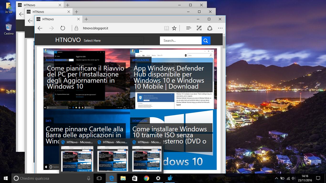 Come disattivare le Miniature di Anteprima nella Taskbar di Windows 10 HTNovo