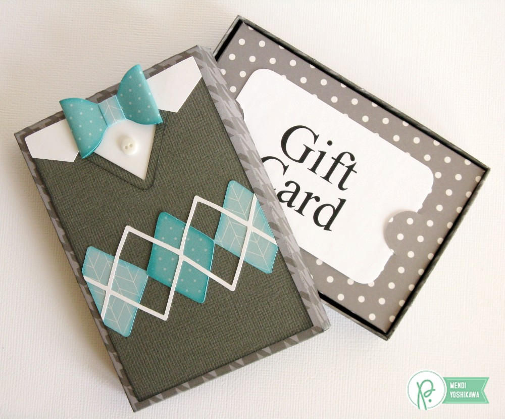 Pebbles Inc. Home+made Argyle Sweater Gift Card Box by Mendi Yoshikawa
