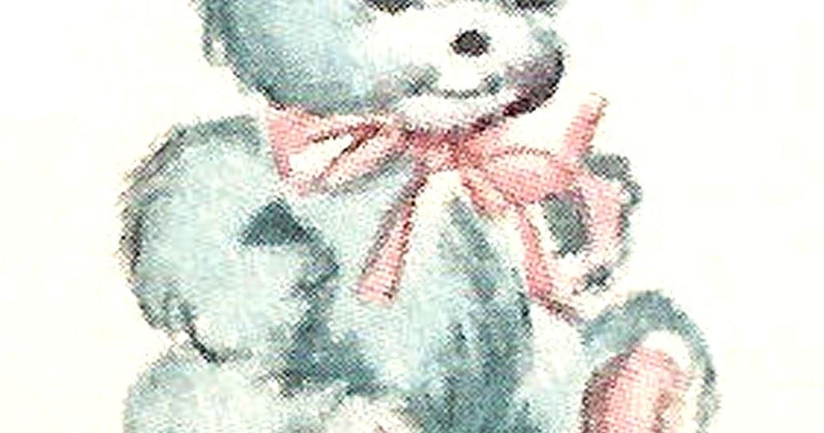 antique images  blue teddy bear baby toy digital illustration antique child clip art