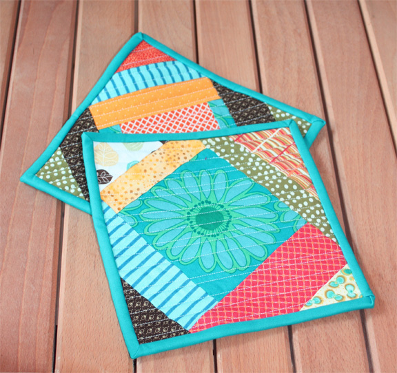 hotpads happy potholders turquoise
