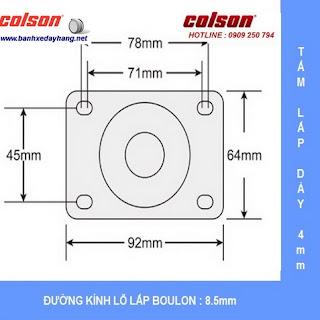 Kích thước Bánh xe cao su 100x32mm càng inox 304 cố định Colson | 2-4408-444 sử dụng ổ nhựa Delrin