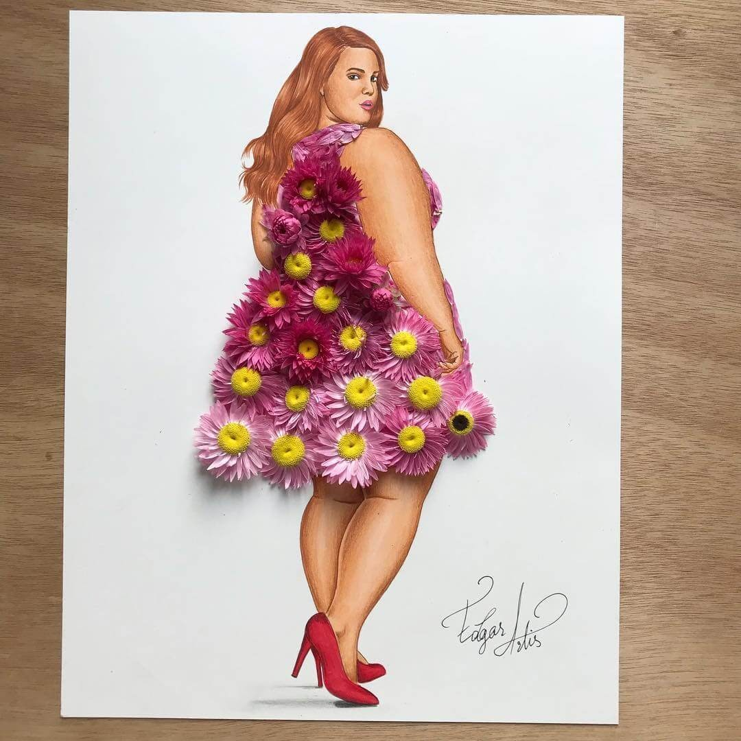 11-A-Flower-Dress-Edgar-Artis-Drawing-with-Everything-Food-Art-and-More-www-designstack-co