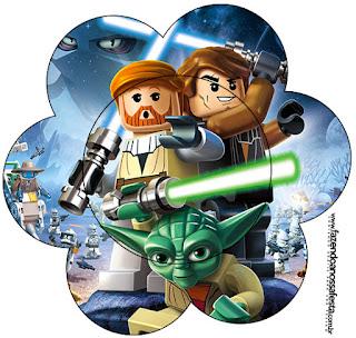 Tarjeta con forma de flor de Star Wars Lego.