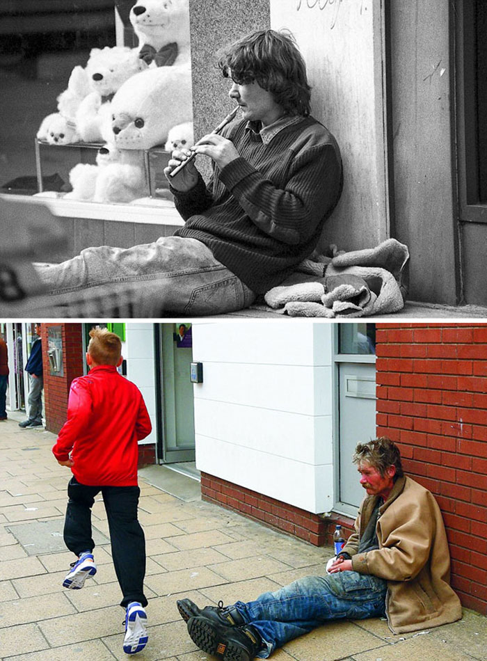 Photographer Recaptures Old Pictures Creating A Beautiful Reunion Of People He Photographed Decades Ago - Flute Player (1986 And 2015)