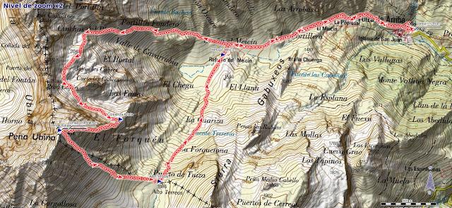 Mapa Ruta Peña Ubiña Arista Este Canal Fana