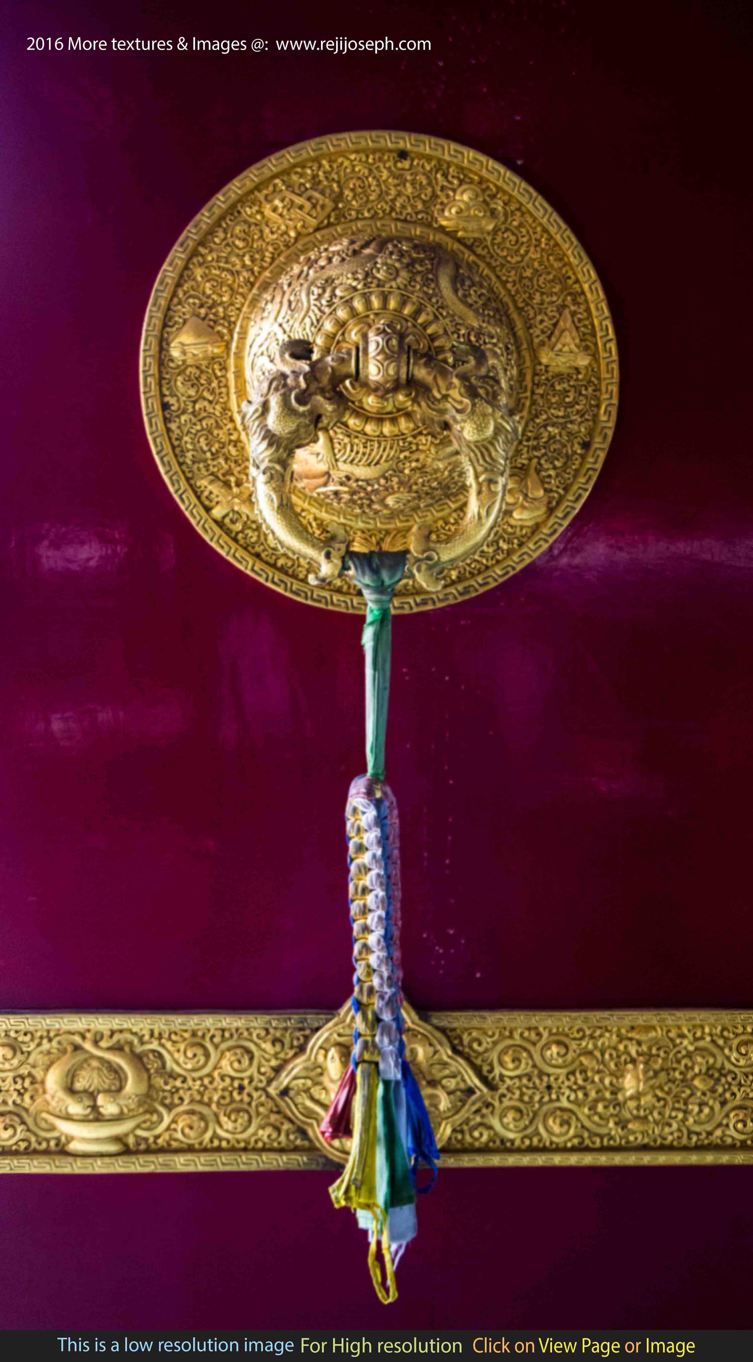 Buddhist temple brass door handle 002