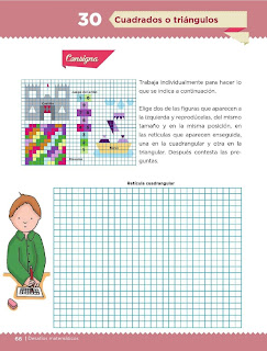 Apoyo Primaria Desafíos Matemáticos 5to. Grado Bloque II Lección 30 Cuadrados o triángulos