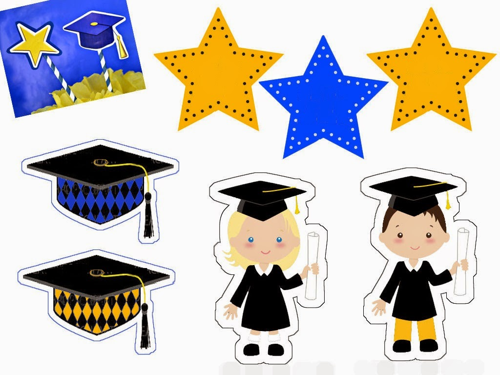Graduaci n infantil toppers etiquetas y banderitas para for Decoracion de licenciatura