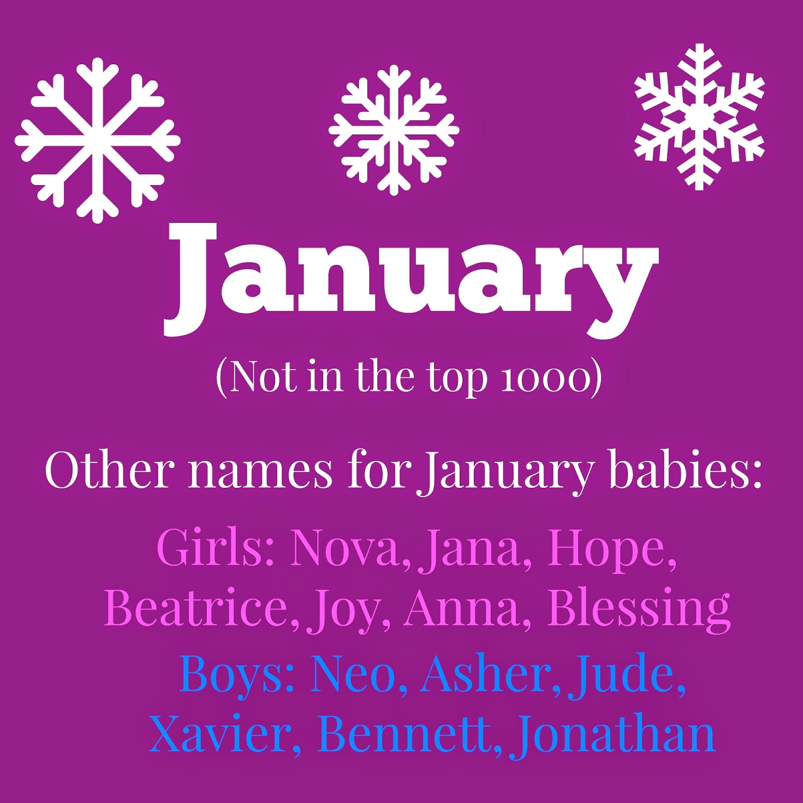 January Itself Is Not Unheard Of As A First Name But It S Common Cute And Lends To Nicknames Such Jan Jana Or Jannie