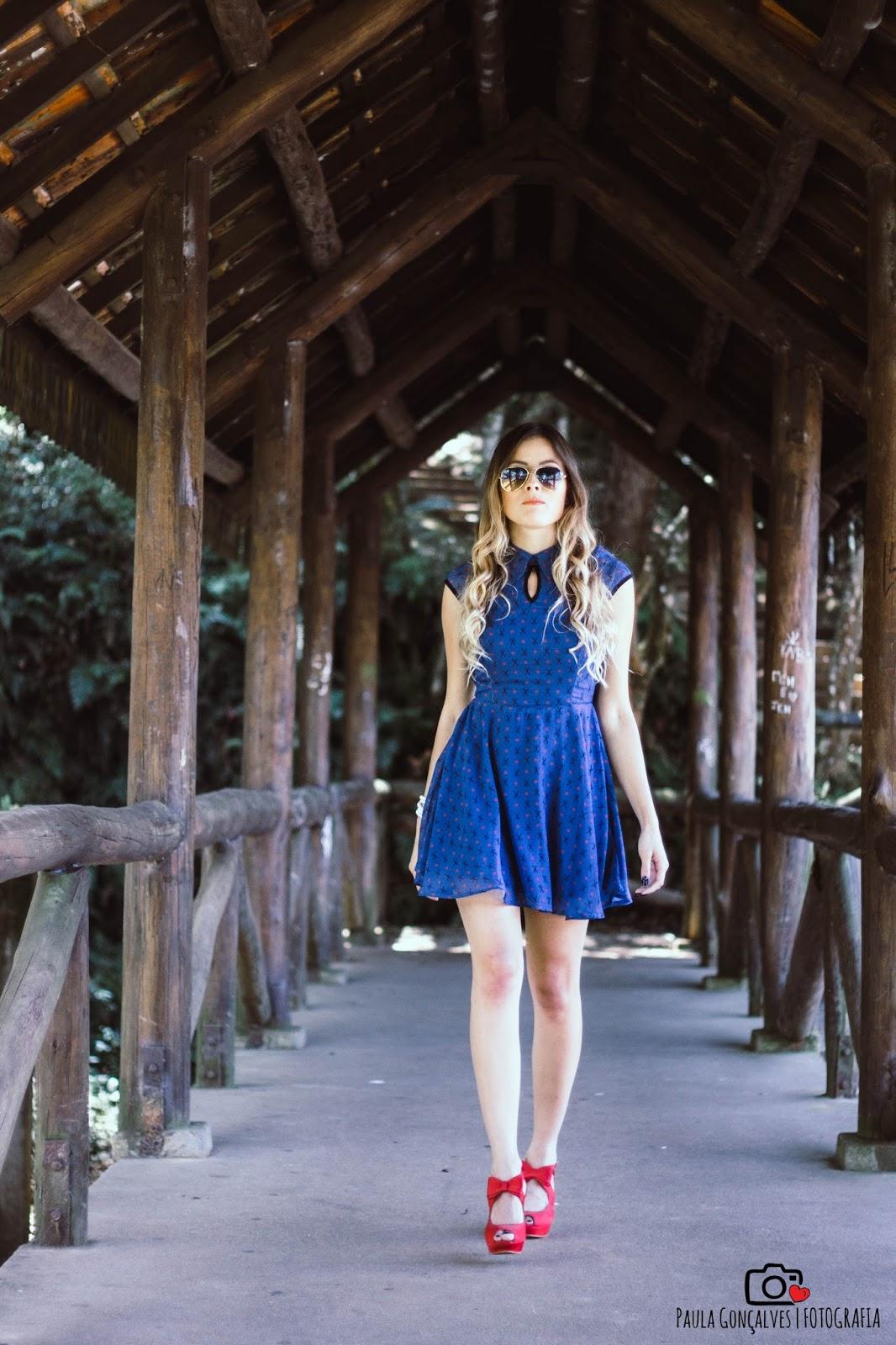 Vestido azul primavera - ally arruda