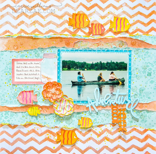 Summer lake scrapbooking layout in orange, blue, and yellow featuring fish, chevrons, glimmer mist, ball jar, and glossy accents