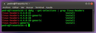 dpkg --get-selections | grep linux-headers