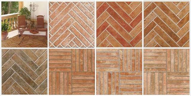 Paving Outdoor Terracotta Herringbone Texture Seamess Usage