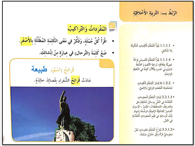 حل درس الوطن يعيش فينا كما نعيش فيه في اللغة العربية للصف الرابع الفصل الدراسي الاول