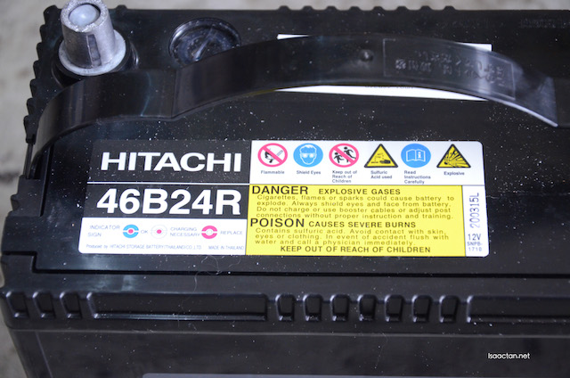 The Hitachi 46B24R MFX Series battery, compatible with Proton Wira 1.5cc