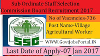 Sub-Ordinate Staff Selection Recruitment 2017 ( 736 Various Officer Posts )