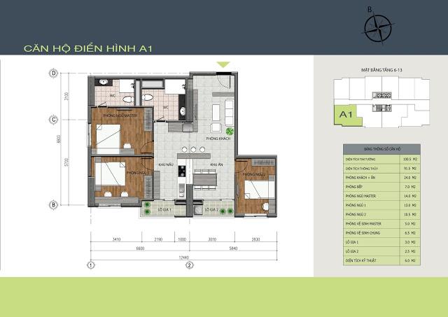 Thiết kế căn hộ A1 Hồng Hà Tower