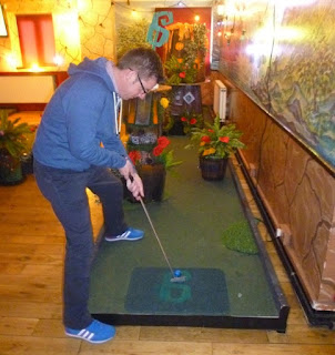 Playing the Plonk! Golf crazy golf course at Efes Snooker Club in Dalston last year