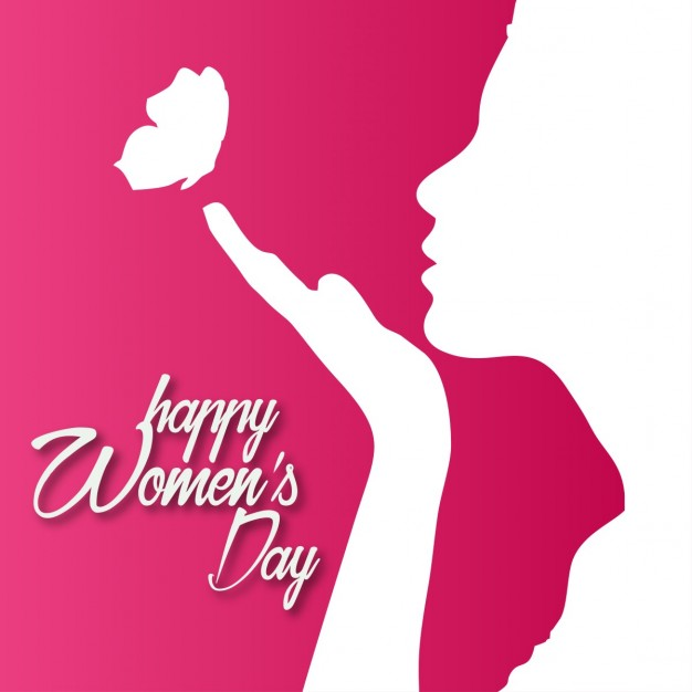Red background with a silhouette for woman's day Free Vector