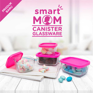 Smart Mom Canister Glassware Set of 4 Square
