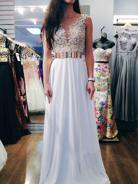 A-line Bateau Floor-length Chiffon Prom Dress