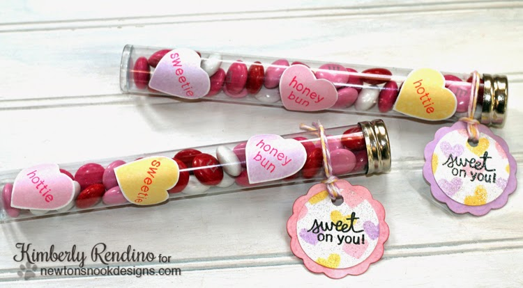 Sweet Treats Blog Hop Test Tube Valentine treats by Kimberly Rendino | Newton's Nook Designs
