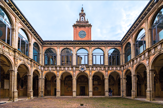 The courtyard of the Archiginnasio, the oldest surviving building of the University of Bologna