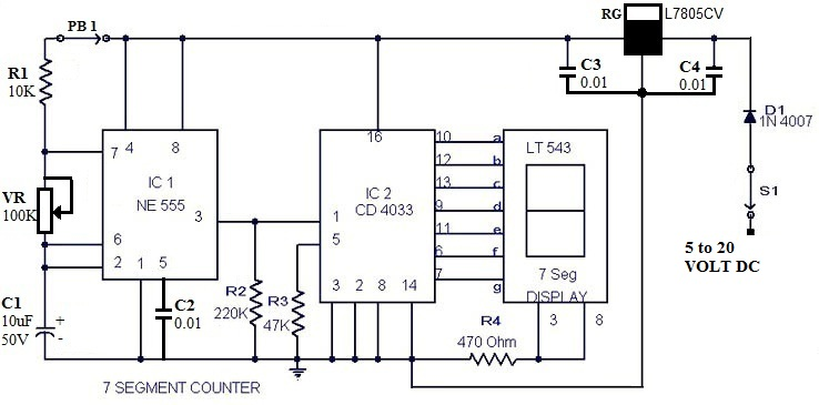 This Circuit Will Count Pulses On A Seven Segment Display Using The
