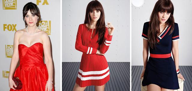 Зои Дешанель в красных и синем платьях