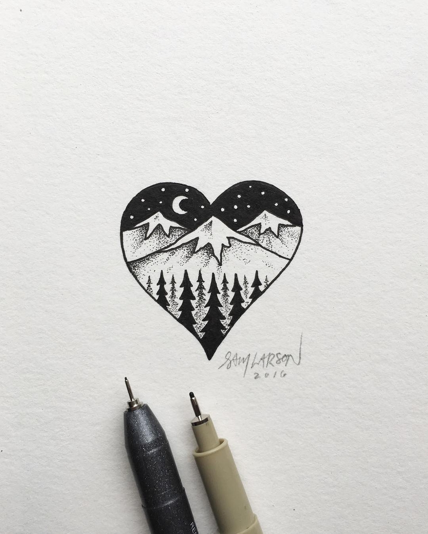 03-Mountains-and-Forest-in-the-Heart-Sam-Larson-Injection-of-Inspiration-in-Diverse-Drawings-www-designstack-co