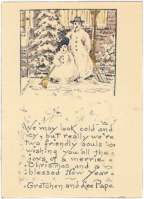 john sent me the following image saying i just got a framed picture of a card sent out by gretchen and lee pape probably to my grandparents or mom