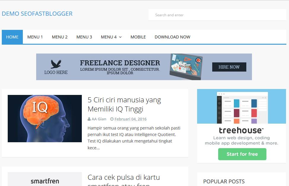 SeoFastBlogger High CTR Responsive Blogger Template