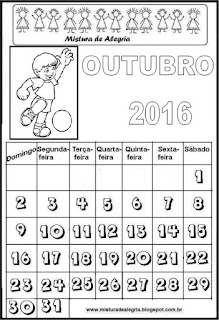 Calendário de 2016 - outubro