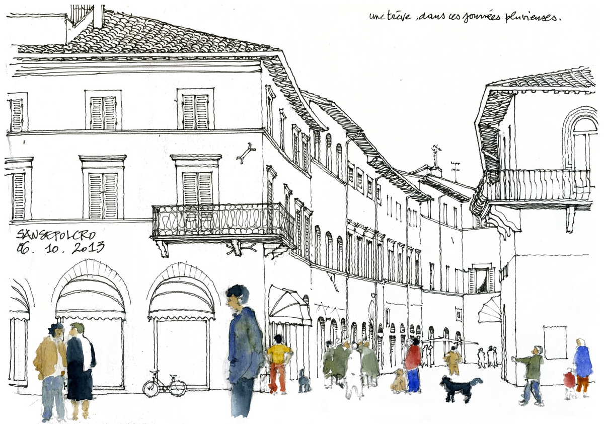 04-Tuscany-Sansepolcro-Gérard-Michel-Italian-Urban-Sketches-to-Capture-Architecture-in-a-moment-in-Time-www-designstack-co