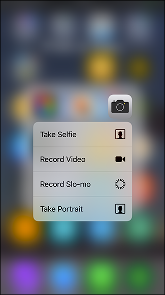 3D Touch come fare subito un selfie o registrare un video