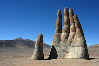 """""The Hand of the Desert"" sculpture, Atacama Desert, Northern Chile."