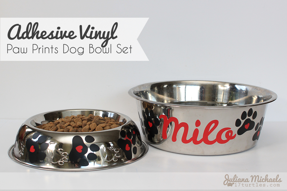 Adhesive Vinyl Paw Prints Dog Bowl Set by Juliana Michaels for SRM Stickers