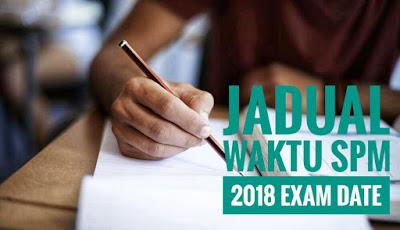 Jadual Waktu SPM 2018 Exam Date