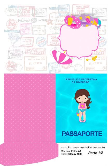 Imprimible con forma de Pasaporte de Fiesta en la Piscina para Niña Morena.