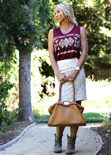 aztec top lace pencil skirt