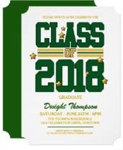 Green|Yellow 2018 Graduation Party Invitations