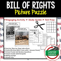 Bill of Rights, Civics Test Prep, Civics Test Review, Civics Study Guide, Civics Interactive Notebook Inserts, Civics Picture Puzzles