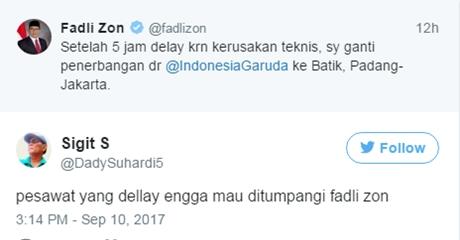 Fadlizon Ganti Pesawat Padang-Jakarta, Garuda Minta Maaf, Netizen: pesawat yang dellay engga mau ditumpangi fadli zon